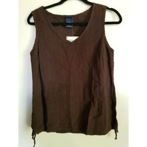 NWT Women Top Basic Editions Small Brown Sleevlss